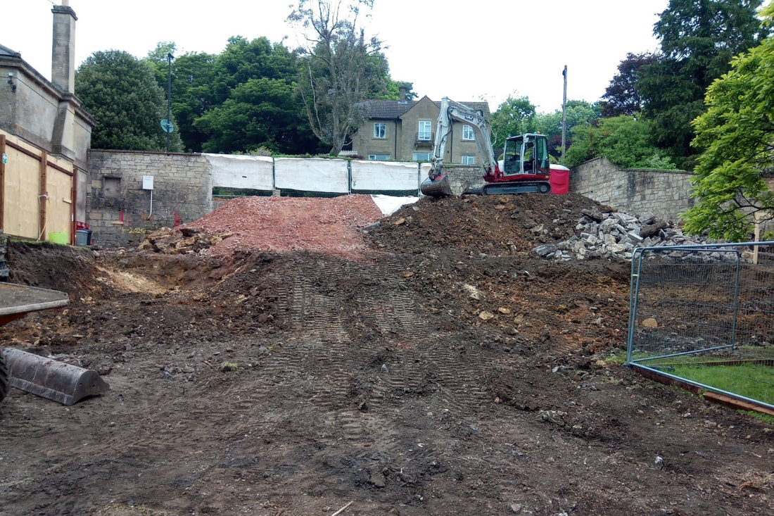 Complex groundworks at Hill House in Bath, which will be a Passivhaus-standard eco home in Bath, Somerset